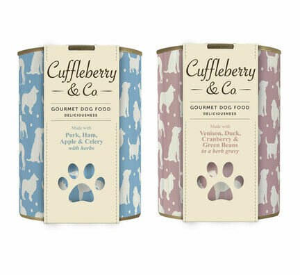 6 x 400g Pork Ham Apple & 6 x 400g Venison Duck - Cuffleberry & Co. Wet Dog Food
