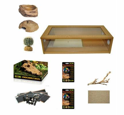 Monkfield Terrainium Leopard Gecko Large Starter Kit - Oak 30 Inch