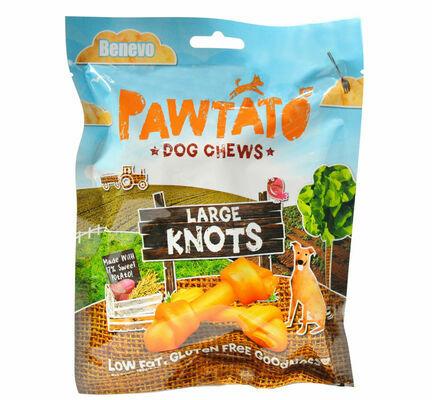 12 x  Benevo Pawtato Vegetarian Vegan Dog Chews Large Knots 180g