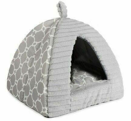 Ancol Sleepy Paws Plush Grey Pyramid Cat Bed