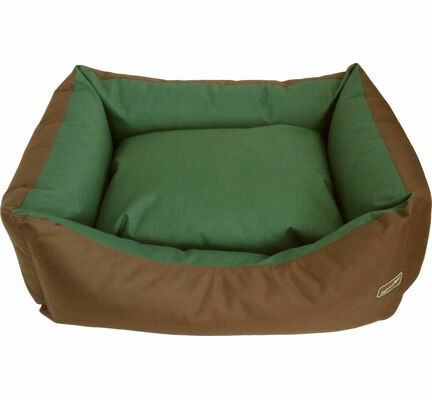 Hem and Boo Waterproof Rectangle Dog Bed in Olive and Brown