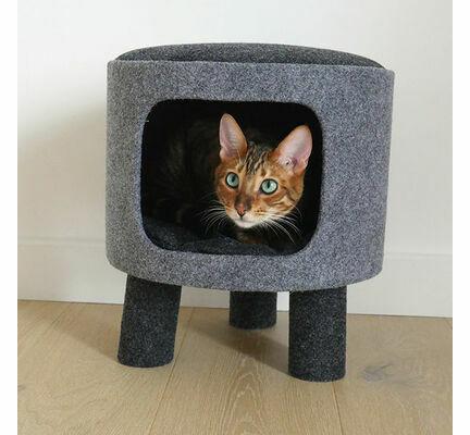 Rosewood Charcoal Felt Cat Snug Stool