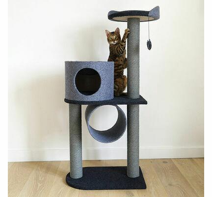 Rosewood Charcoal Felt Cat Scratcher Double Tower