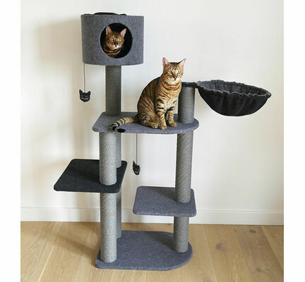 Rosewood Charcoal Felt Triple Scratcher Cat Tower