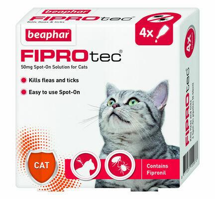 Beaphar Fiprotec Spot On Flea Treatment For Cats (4 x Treatments)
