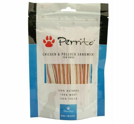 Perrito 100% Chicken & Pollock Sandwich Dog Snacks 100g