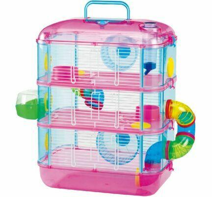 Lazy Bones 3 Storey Hamster Cage in Pink