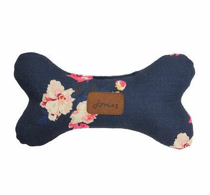 Joules Floral Plush Navy Bone Dog Toy
