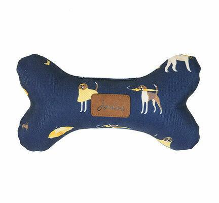 Joules Dog Print Plush Navy Bone Dog Toy
