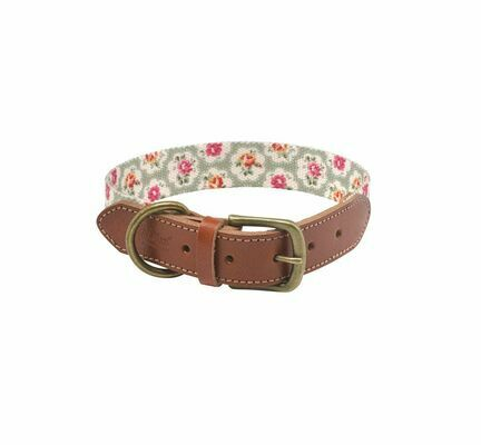 Cath Kidston Provence Rose Soft-Touch Leather Dog Collar With Printed Inner