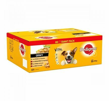 PEDIGREE Dog Pouches Mixed Selection in Gravy 80 x 100g Mega Pack
