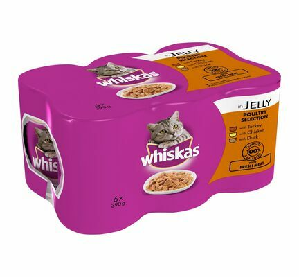 24 x 390g Whiskas Can Jelly Poultry Selection