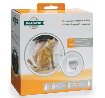 Staywell Classic Manual 4 Way Locking Cat Flap White Tunnel