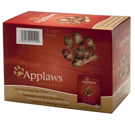 12 x Applaws Tuna & Pacific Prawn Cat Food 70g