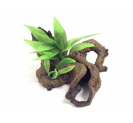 Blue Ribbon Decor Mopani Wood W/plants Medium 33 X22 X15cm