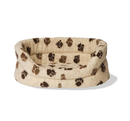 Danish Design Cream & Brown Paw Print Fleece Slumber Dog Bed