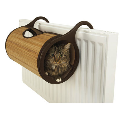 Rosewood Jolly Moggy Natural Bamboo Radiator Cat Bed Tunnel