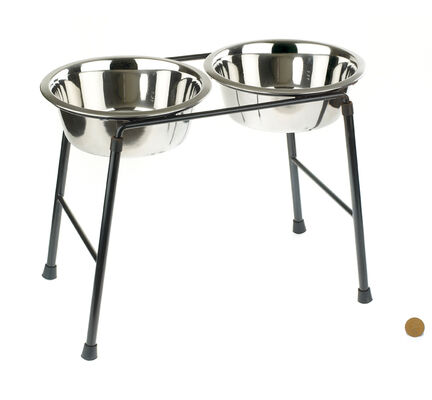 Classic High Stand Dog Food Feeder & 2 x Stainless Bowls