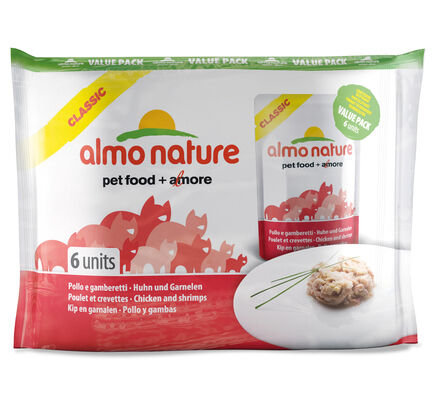 Almo Nature Classic Cat Pouch Value Pack Chicken & Shrimps 6 X 55g