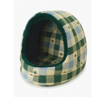 Pennine Hooded Giant Green Check Dog Bed - 53cm