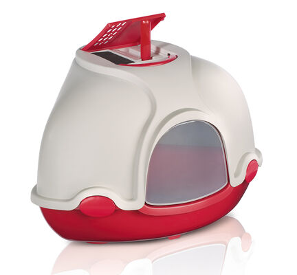 Imac Ginger Deluxe Hooded Corner Cat Toilet - Red