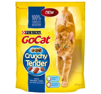 5 x Go-cat Crunchy And Tender Salmon Tuna & Veg 375g