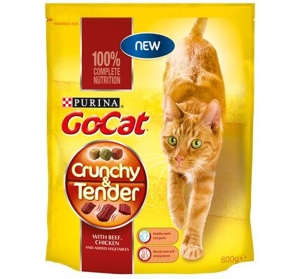 4 x Go-cat Crunchy And Tender Beef Chicken & Veg 800g