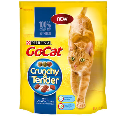 4 x Go-cat Crunchy And Tender Salmon Tuna & Veg 800g