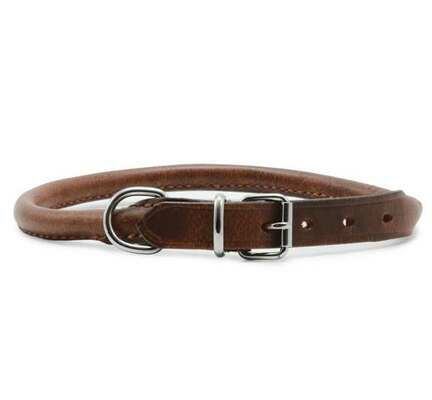 Ancol Heritage Leather Round Sewn Collar Chestnut
