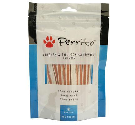 10 x Perrito 100% Chicken & Pollock Sandwich Dog Snacks 100g