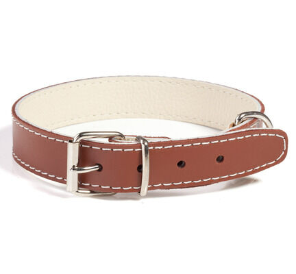 Doggy Things Plain Leather Dog Collar - Brown