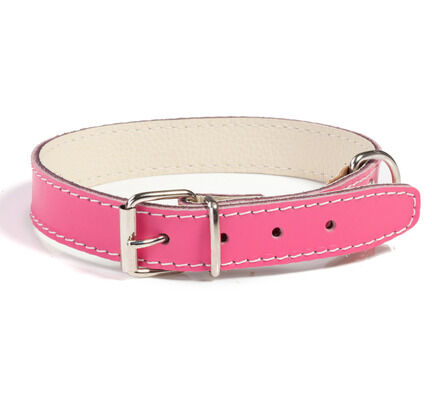 Doggy Things Plain Leather Dog Collar - Hot Pink