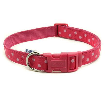 Ancol Vintage Polka Nylon Adjustable Dog Collar Raspberry & Pink