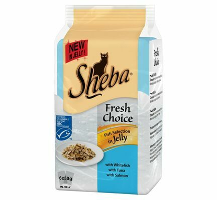 48 x 50g Sheba Fresh Choice Fish Selection Cat Food In Jelly Wet Pouches
