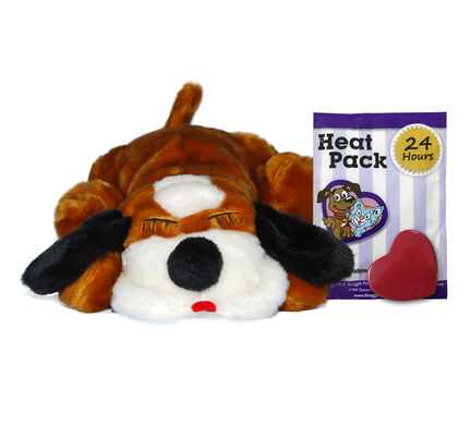 Brown & White Snuggle Puppy Calming Dog Toy With Real Heartbeat