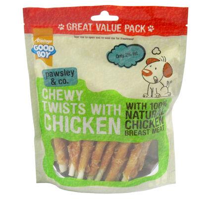 3 x 320g Good Boy Pawsley & Co Chewy Twists With Chicken Dog Treats