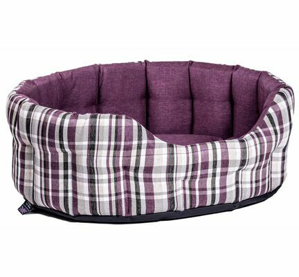 P&L Premium Heavy Duty Antibacterial Oval Drop Front Softee Purple Plaid Dog Bed