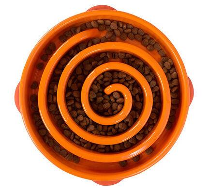 Outward Hound Fun Feeder Orange Slow Feed Dog Bowl - Regular
