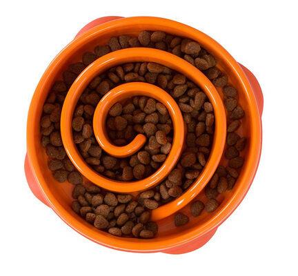 Outward Hound Fun Feeder Orange Slow Feed Dog Bowl - Mini