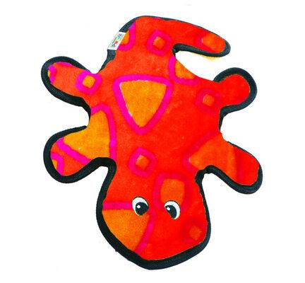 Outward Hound Invincibles Gecko 4 Squeak Dog Toy - Red & Orange