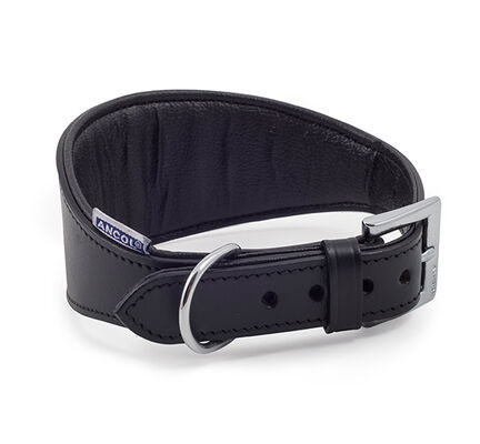 Ancol Heritage Leather Padded Greyhound/Whippet Collar Black