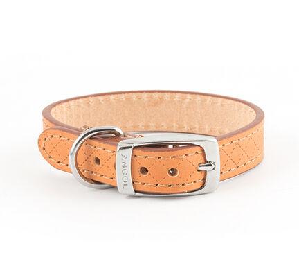 Ancol Heritage Diamond Leather Collar Tan