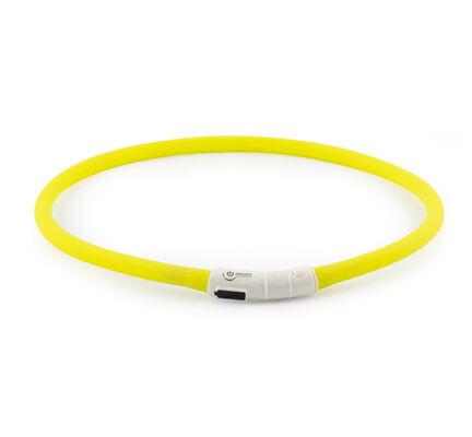 Ancol Light Up USB Rechargeable Flashing Dog Collar Yellow 70cm