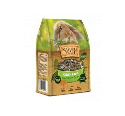 4 x Natures Feast Rabbit Nugget Grass & Veg Mix 1.5kg