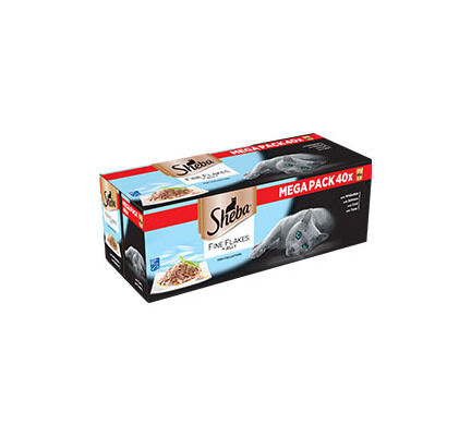 40 x 85g Sheba Pouch Fine Flakes Fish Collection In Jelly