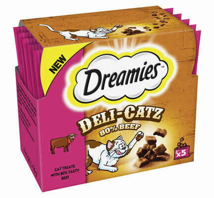 80 x Dreamies Deli-Catz Cat Treats With Beef 5g