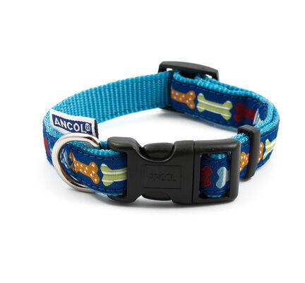 Ancol Nylon Adjustable Dog Collar Blue Bones