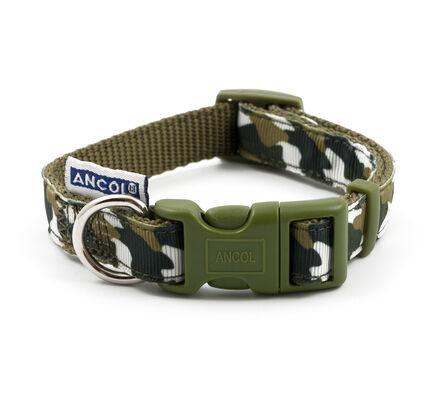 Ancol Nylon Adjustable Dog Collar Green Combat