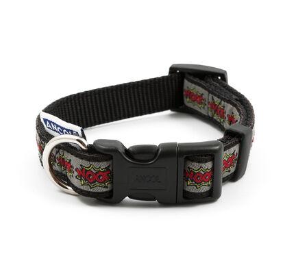 Ancol Nylon Adjustable Dog Collar Grey Woof