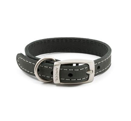Ancol Timberwolf Leather Collar Grey